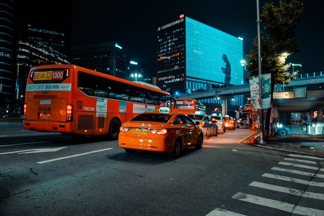 korean bus and taxi