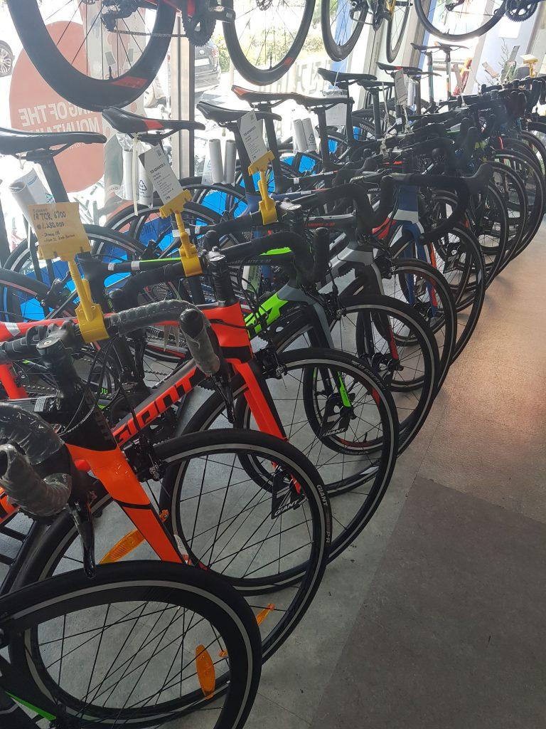 Bikes in a line inside Bike Nara, a popular bike shop in Korea-Seoul.