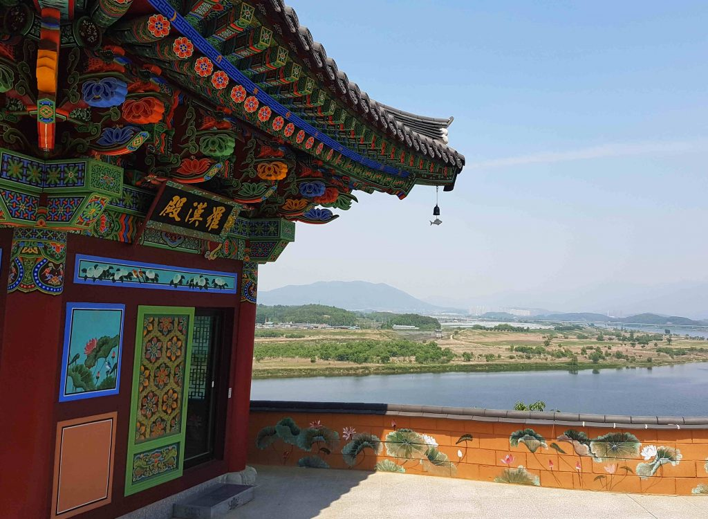 A temple near the city of Namji in the south. The overlooks the Nakdong River flows behind.