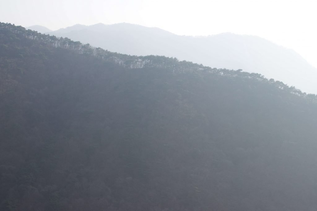 A mountain with trees which is obscured by pollution. The South Korea climate during spring was clear, but now its hazy due to the pollution. This picture reflects that.