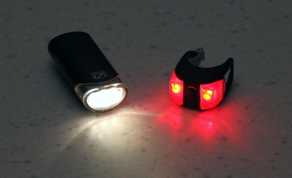 A picture of front and rear bike lights.