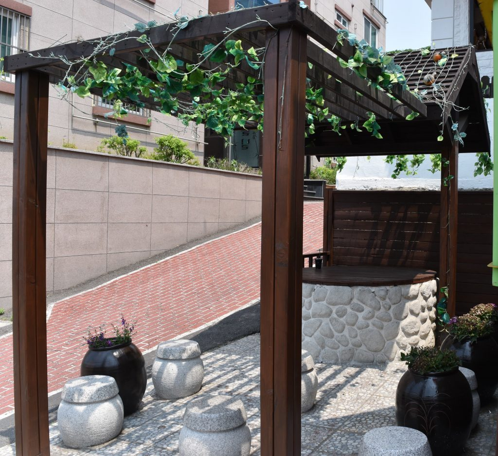 A photo of the well in incheon china town that has a closed door on top.
