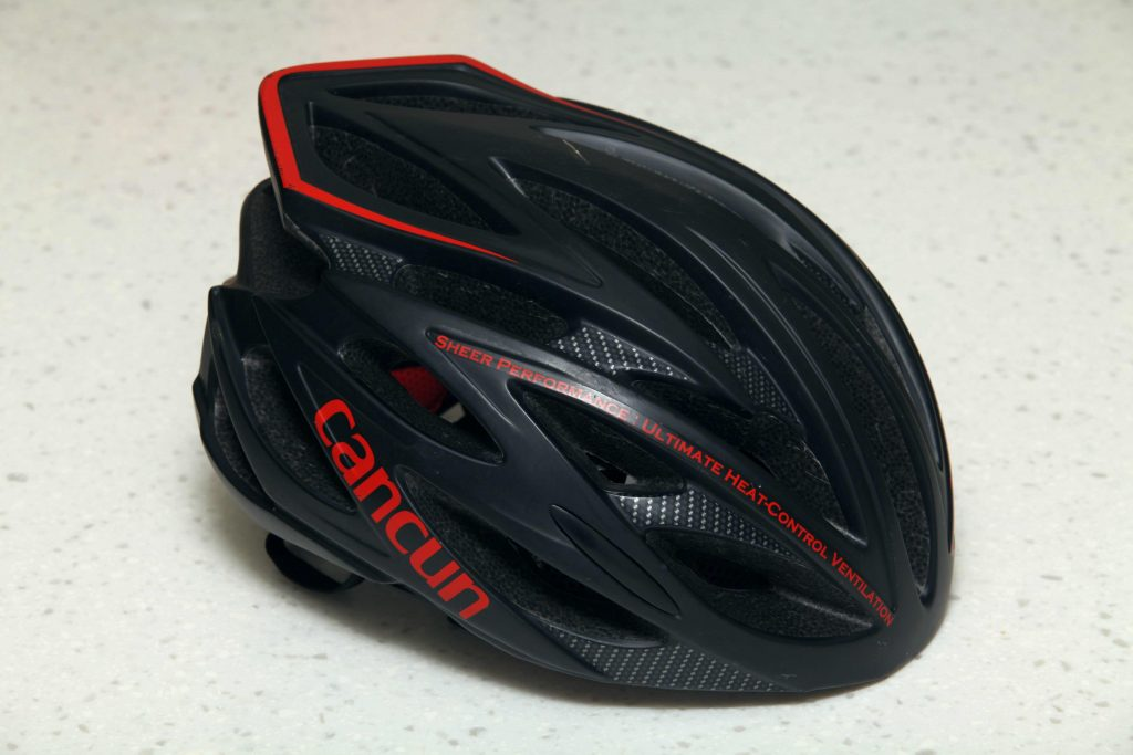 A picture of a bike helmet.