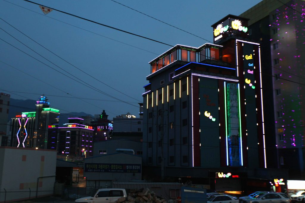 Bright and glittery love motels in Busan.