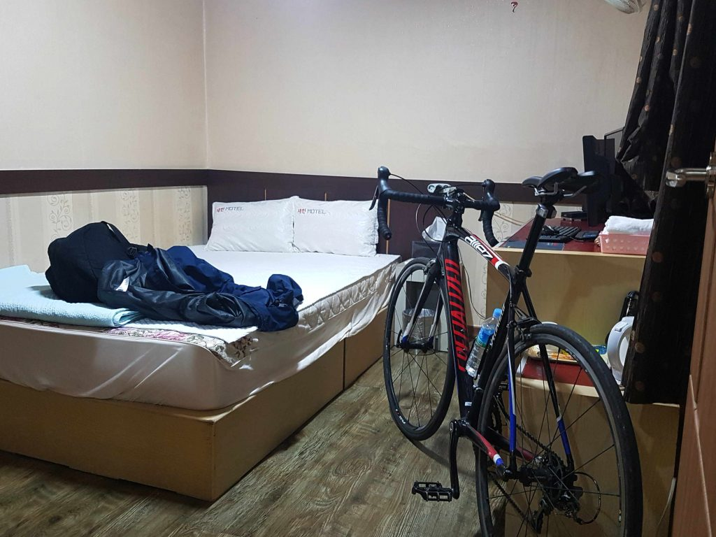 A bike inside a motel room. Concierges may let you keep your bike in the room with you.