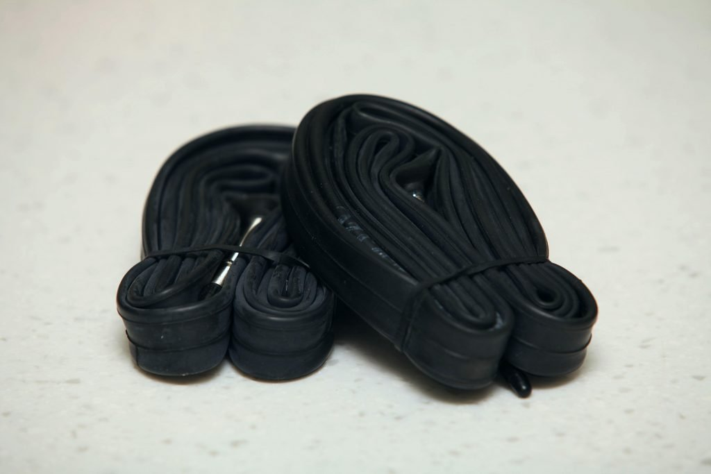 A picture of bike inner tubes.