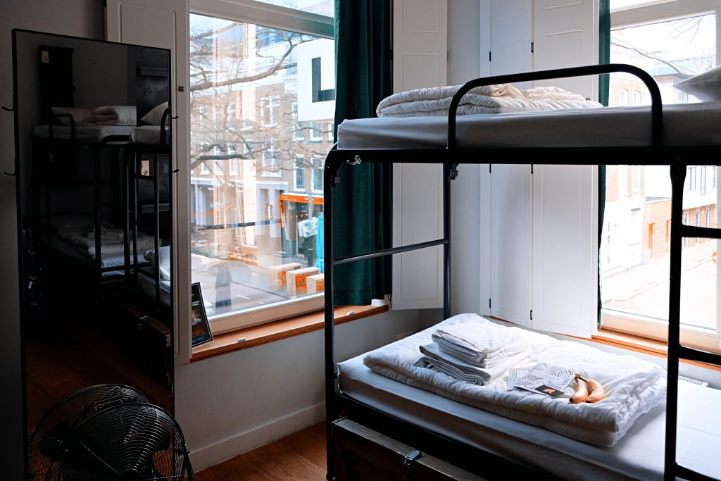 A typical room in a hostel with bunk beds.