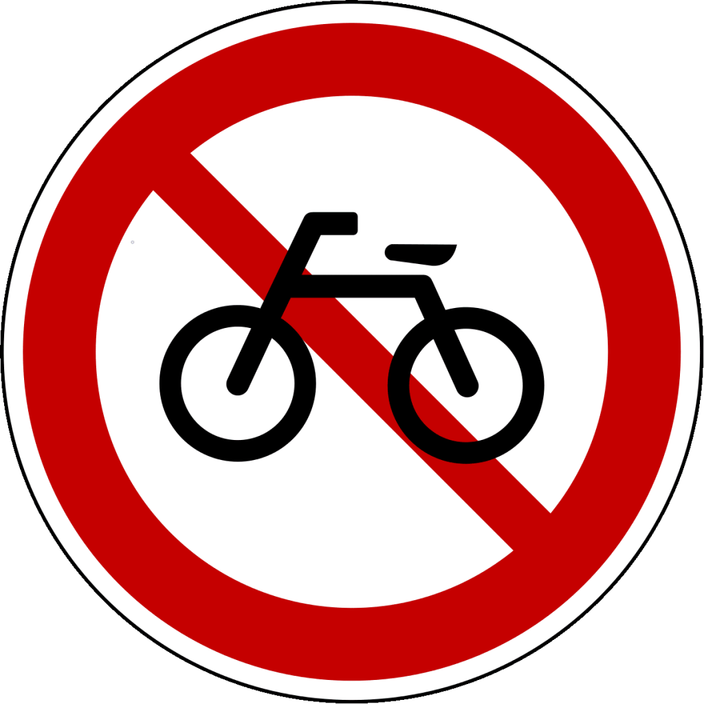 A no bikes allowed sign in Korea.