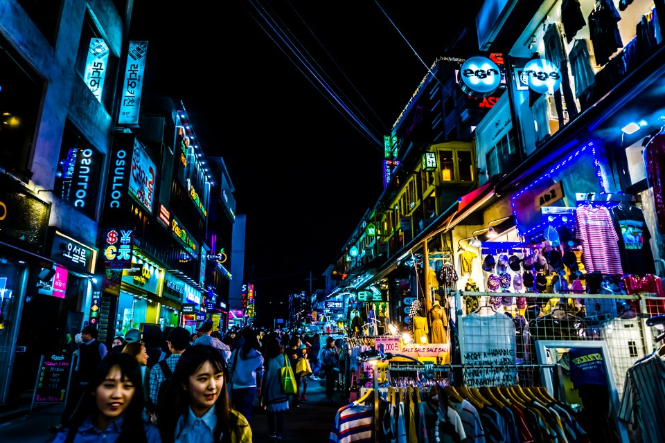 A photo of the mainstreet in Hongdae