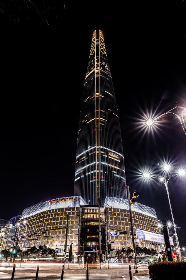 A close up of lotte tower and lotte world mall