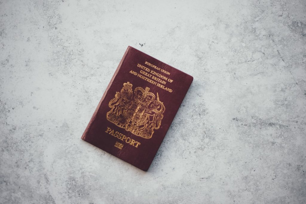 A picture of an English passport