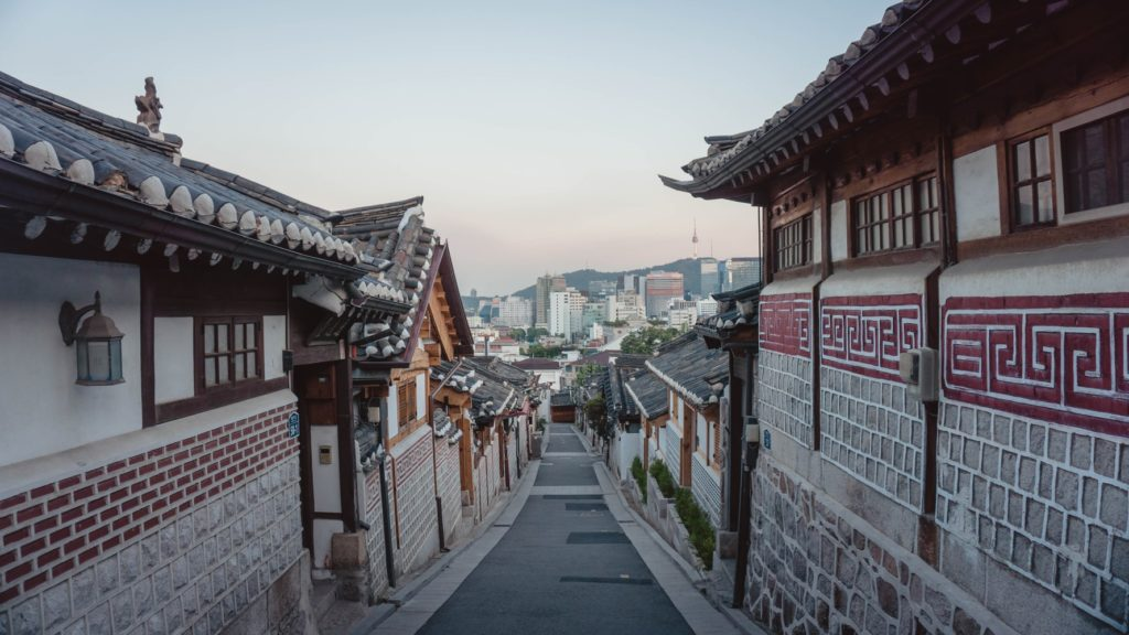 A Photo of Small Korean traditional houses in insadong.