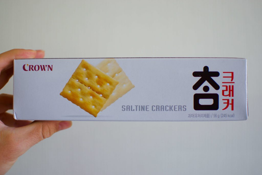 A photo of the Crown saltine cracker box