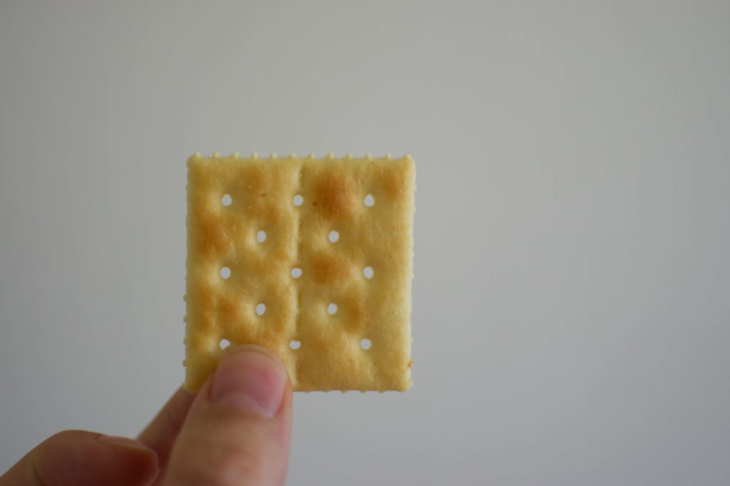 A close up photo of someone holding a saltine cracker