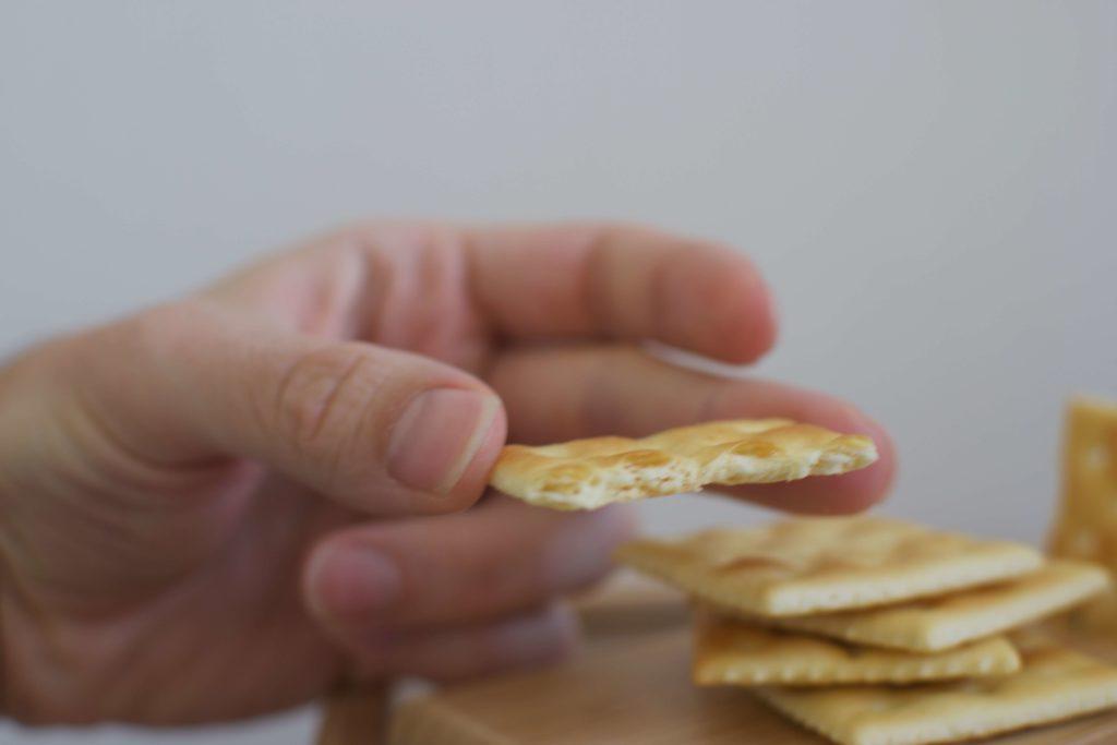 A broken saltine cracker