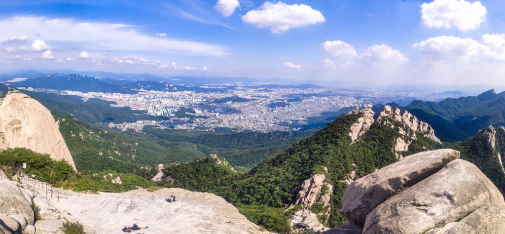 A view of seoul from on top of a mountain