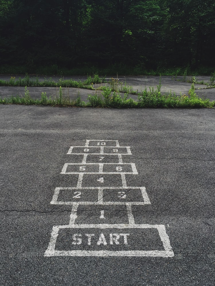 A photo of hopscotch chalked on the school playground