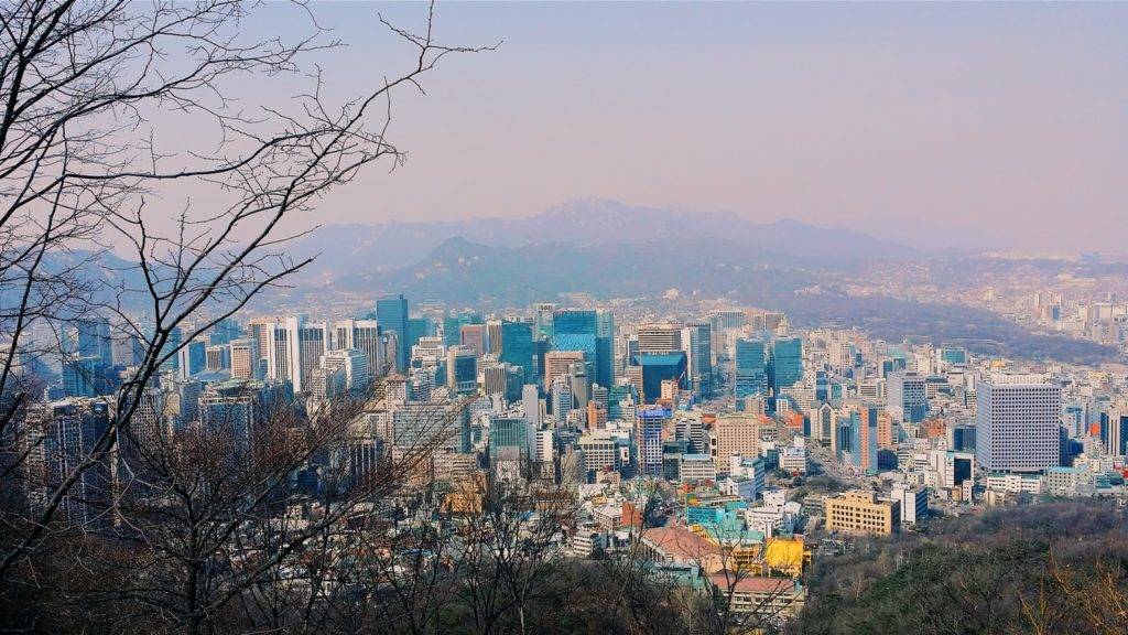 A view of seoul from a mountain