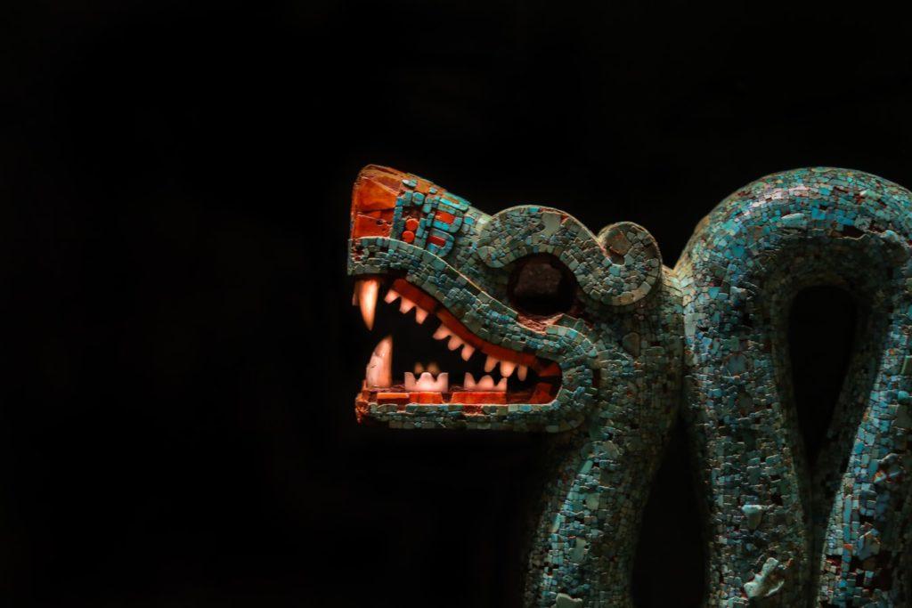 A sculpture of an ancient snake