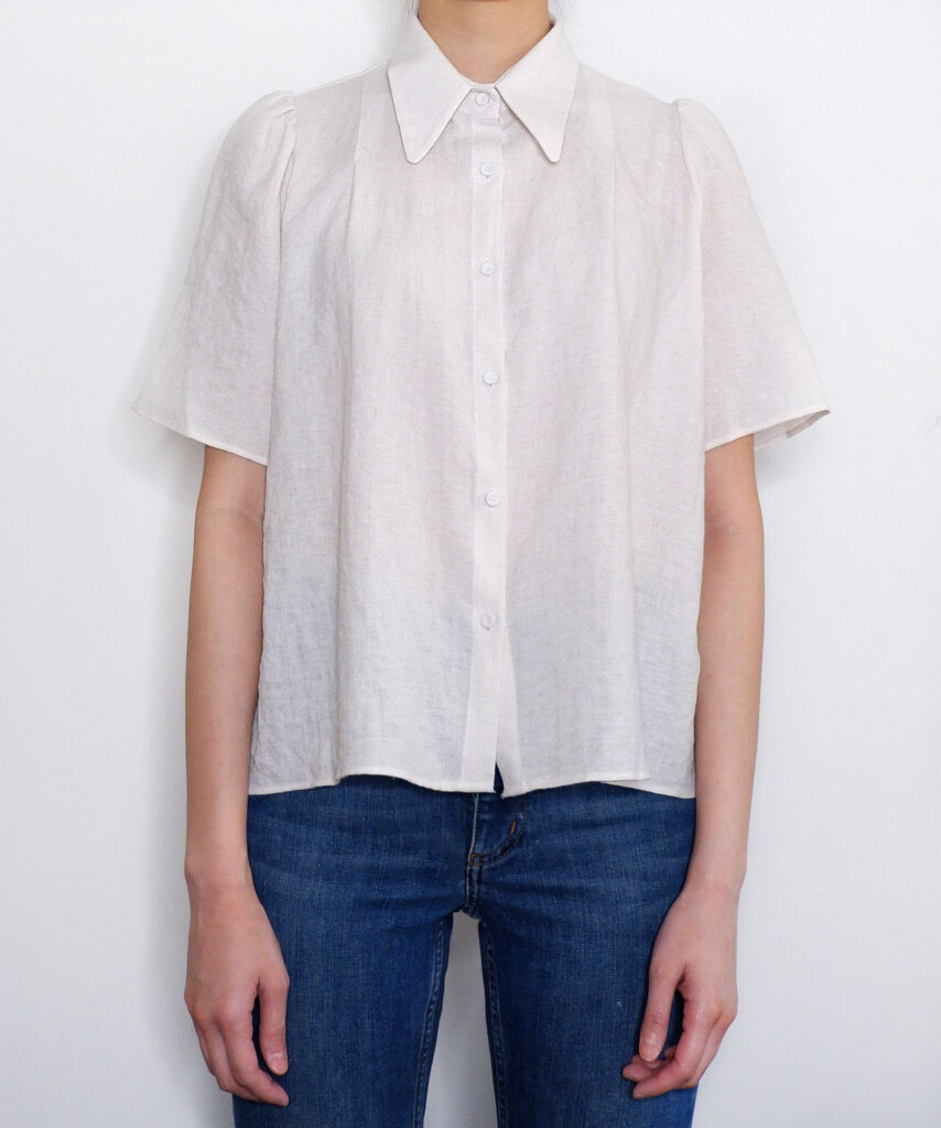 Big pointed collar short sleeve linen blouse from The Dallant, Korean fashion online shopping site for K-fashion summer trends