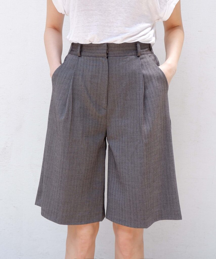 gray herringbone bermuda wide leg trouser shorts from The Dallant, Korean fashion online shopping site for K-fashion summer trends