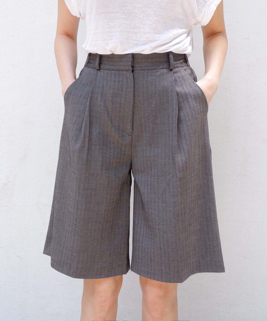 gray herringbone bermuda wide leg trouser shorts from The Dallant, Korean fashion online shopping site for K-fashion summer trends