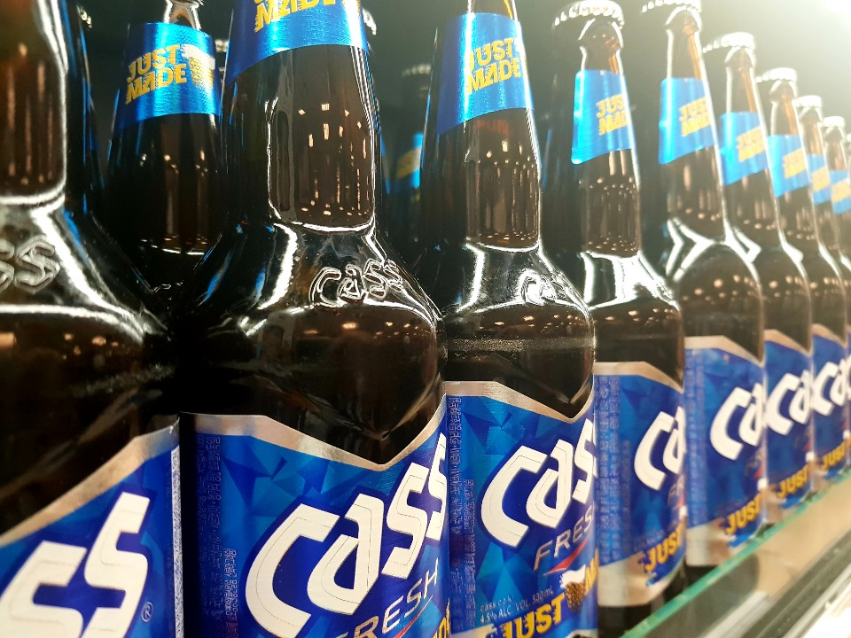 A photo of bottles of Korean beer, Cass on the shelf