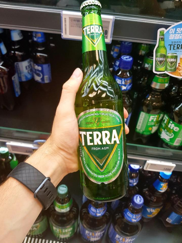 A photo of the korean beer bottle terra