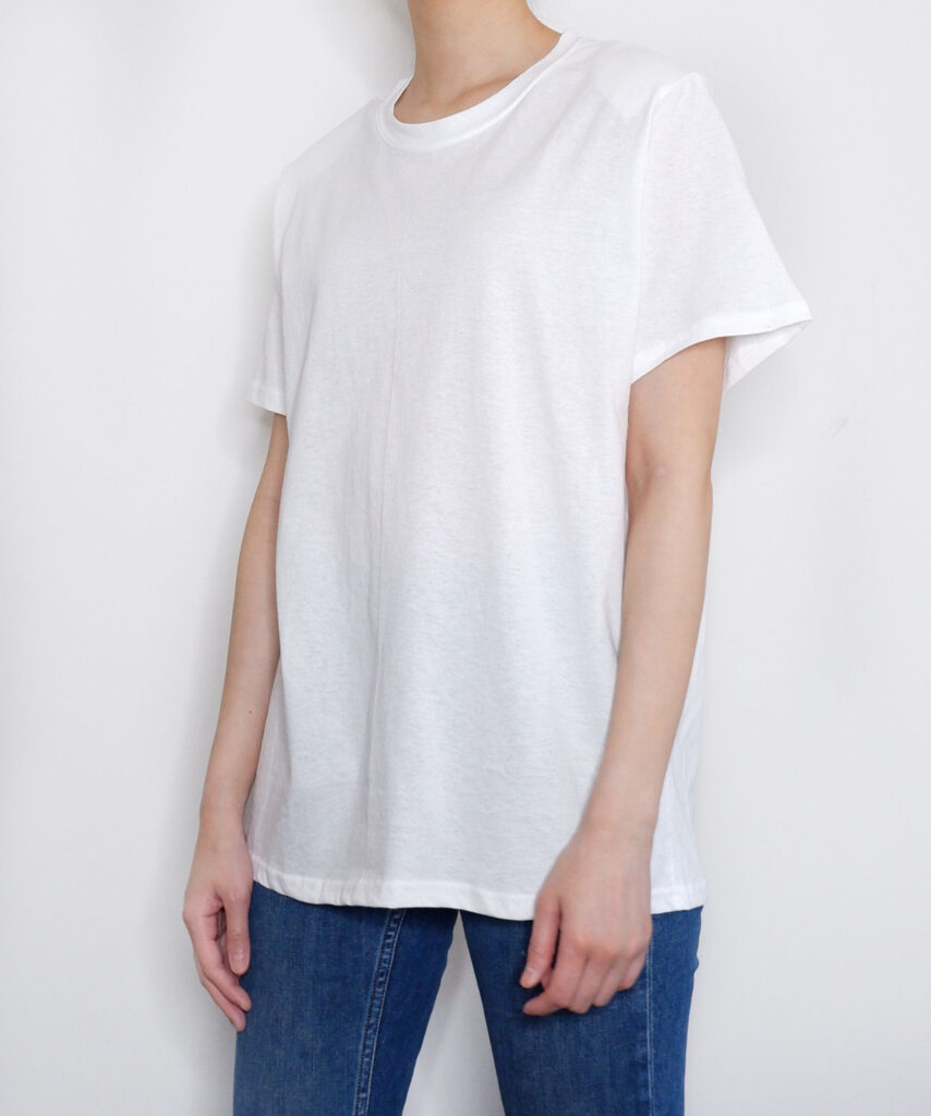 white padded shoulder t-shirt from The Dallant, Korean Fashion online shopping site for K-fashion summer trends