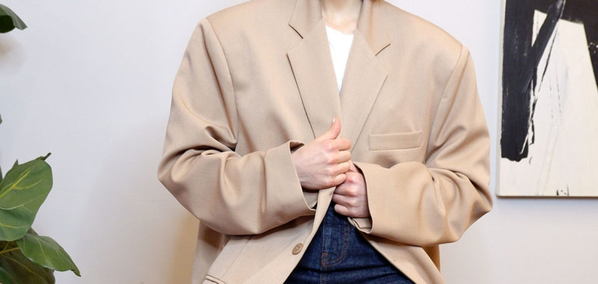 Super oversized blazer in beige from The Dallant, Korean Fashion Online Shopping Site with Korean Designers