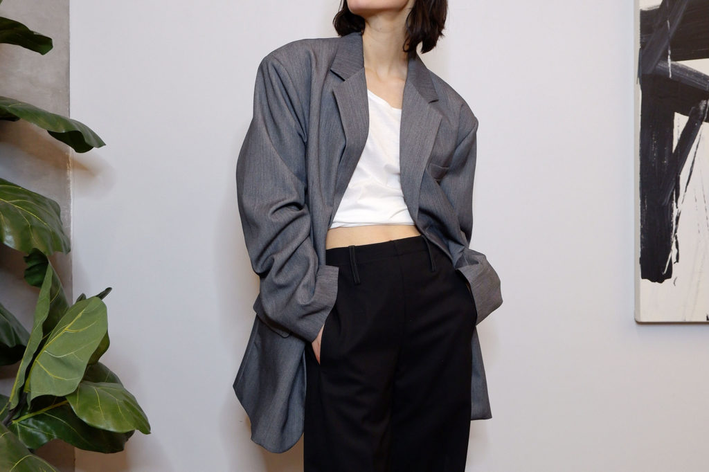 Super oversized blazer in gray from The Dallant, Korean fashion online shopping store with Korean independent designers