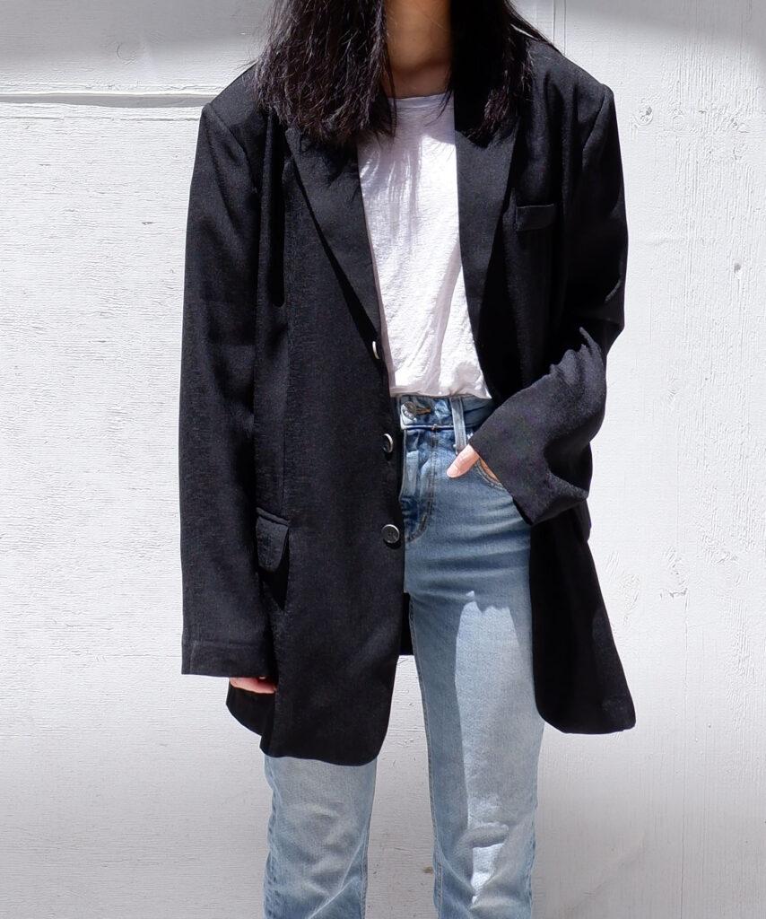oversized black linen blazer from The Dallant, Korean Fashion online shopping site for K-fashion summer trends