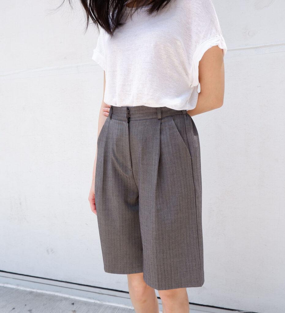 Herringbone bermuda trouser shorts   The Dallant   Korean fashion online shopping site