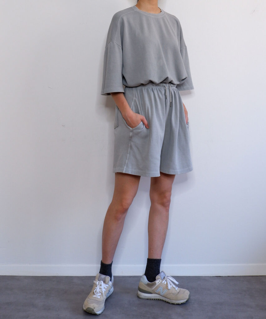 oversized vintage wash sweatsuit set with sweatshorts   The Dallant   korean fashion online shopping site