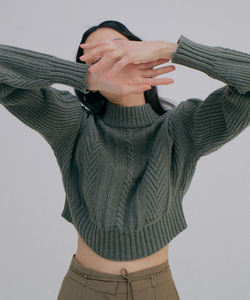 WNDERKAMMER cropped cable knit sweater in khaki available at The Dallant, Korean Fashion online shopping website