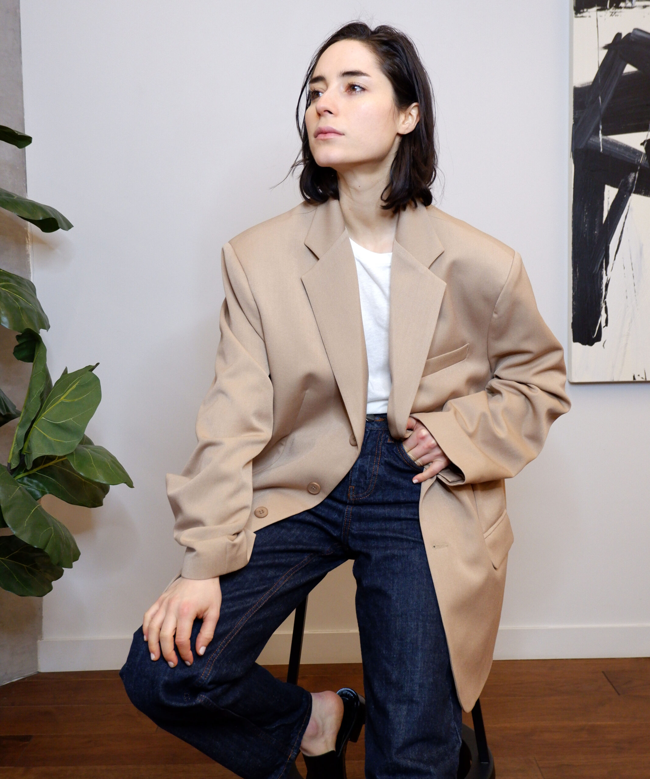 Super oversized blazer by PP available at The Dallant, Korean Fashion designer online shopping site